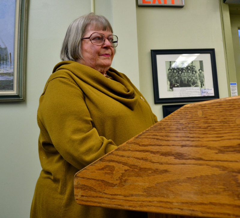 Wiscasset Historic Preservation Commissioner Susan Blagden asks for clarification about a Wiscasset Board of Selectmen motion to start the process necessary to repeal the historic preservation ordinance Tuesday, May 2. (Abigail Adams photo)