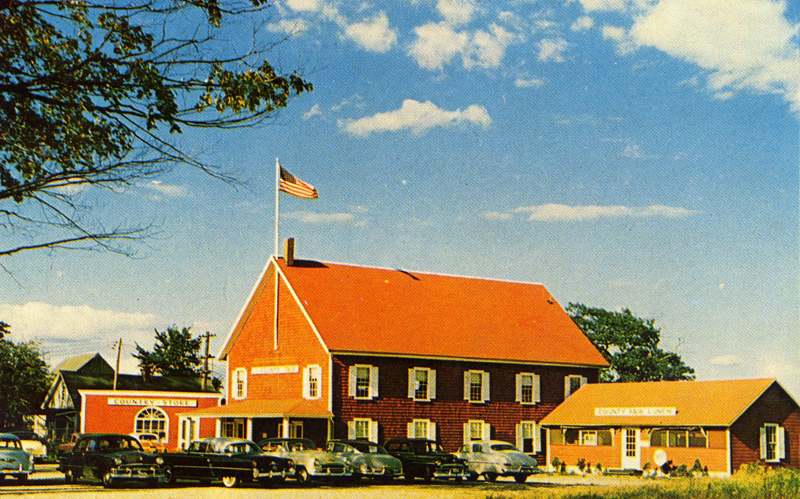 The County Fair Restaurant, started by Frank Grunnell and later bought by Mr. Lawson and Alma Aldrich, 1950s. (Postcard image courtesy Marjorie and Calvin Dodge)