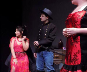 From left: Eileen Monroy, Wyatt Sykes, and Hailie Rose Brown in a Dessert Theater scene.