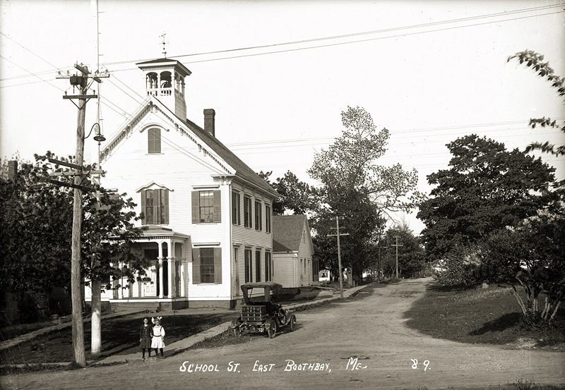 "A postcard depicting School Street, East Boothbay, on display at the ""Lincoln County Through Eastern's Eye"" exhibit at Boothbay Railway Village."