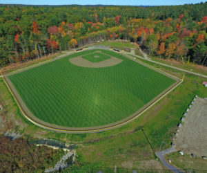 An aerial shot of the John Bowers Baseball Field at Lincoln Academy, which will be dedicated on Friday, May 26 at 4 p.m.