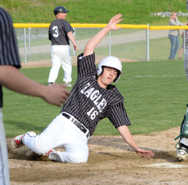 Bradley Cross scored the Eagles first run of the game in the bottom of the seventh inning. (Paula Roberts photo)