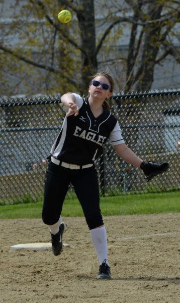 Lincoln Academy third baseman Kloe Poland makes the play to first. (Paula Roberts photo)