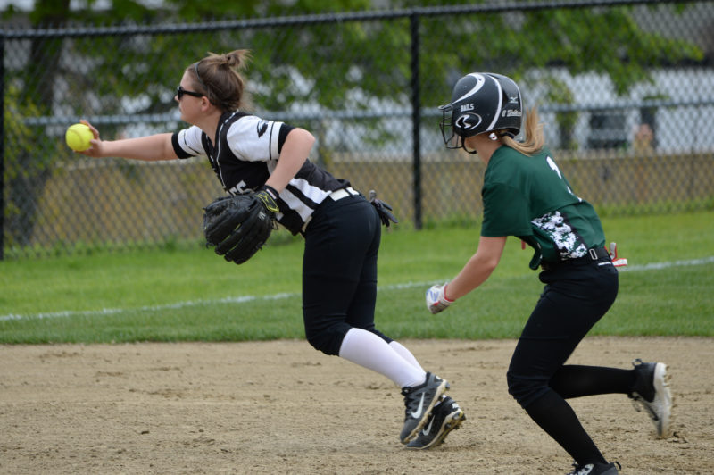 Lincoln Academy shortstop Khloe Poland flips the ball to third to pick up the out on Leavitt's Bailey Derocher. (Paula Roberts photo)