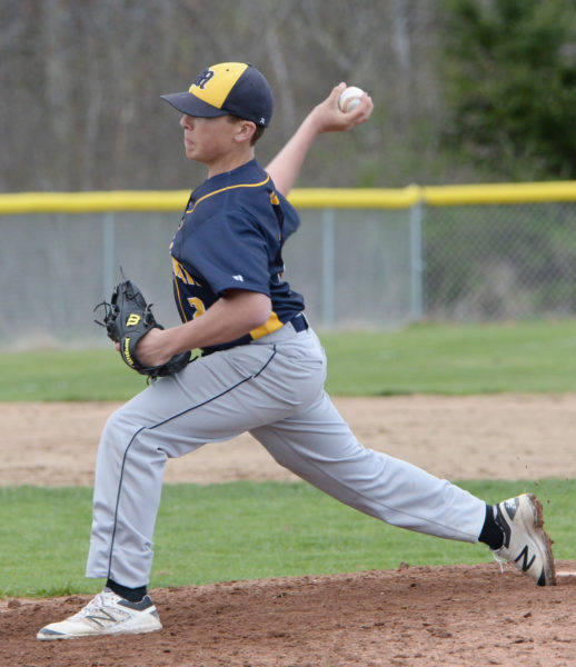 Medomak Valley freshman Ryan Creamer collected the 5-4 win over Lincoln Academy in 10 innings. (Paula Roberts photo)