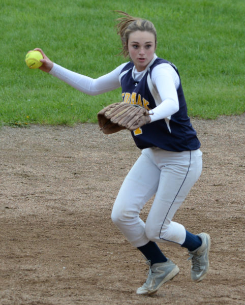 Medomak shortstop Sadie Cohen makes the throw to the plate. (Paula Roberts photo)