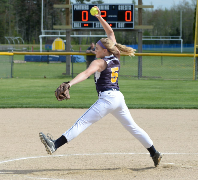Gabby DePatsy stuck out 10 in Medomak's 2-1 win over Nokomis on May 19.  (Paula Roberts photo)