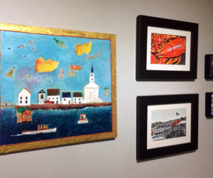 """A Taste of Pemaquid"" has an eclectic collection of art to delight visitors. One corner of the show features the work of (clockwise from left) Dale Dapkins, Judy Bernier, and DiTa Ondek."