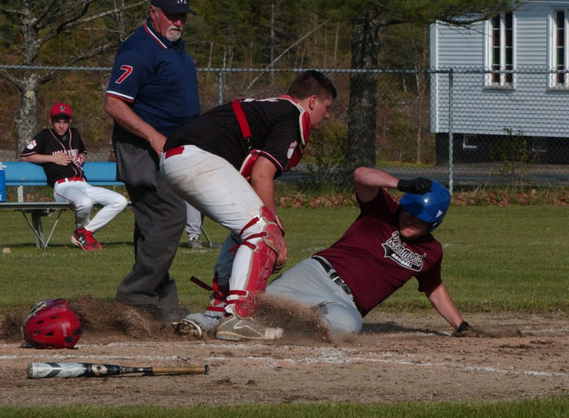 Wiscasset catcher Conlon Ranta tags out Richmond trying to spoil the shutout. (Carrie Reynolds photo)