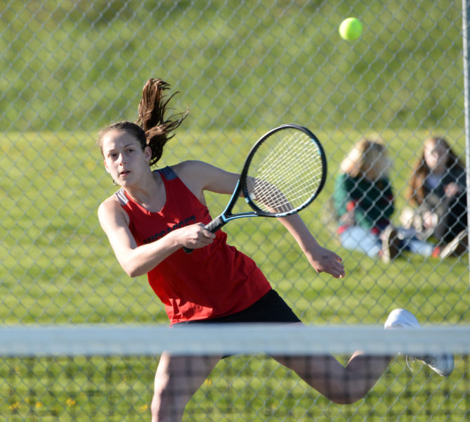 Maria West returns a shot for Wiscasset. (Paula Roberts photo)