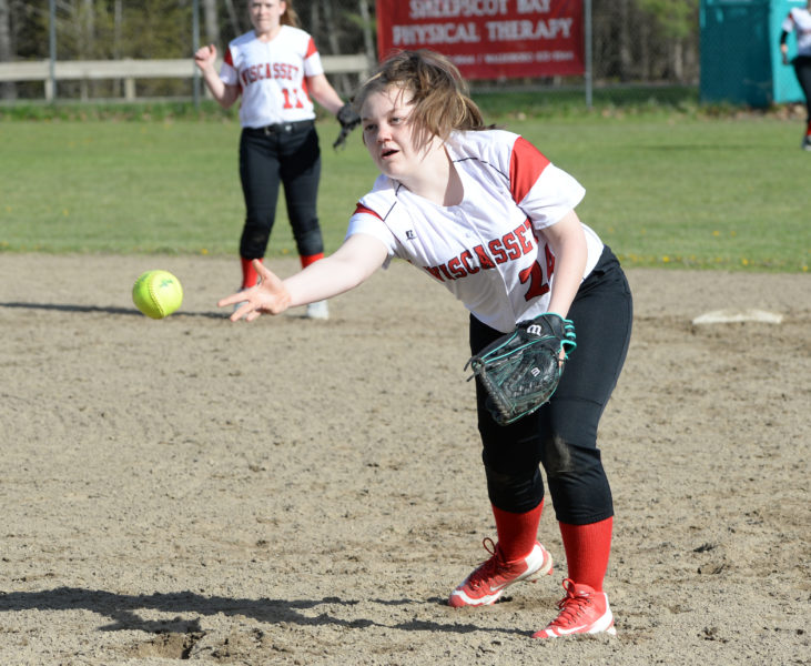 Wiscasset second baseman Kateleen Trash flips the ball to first to pick up an out. (Paula Roberts photo)