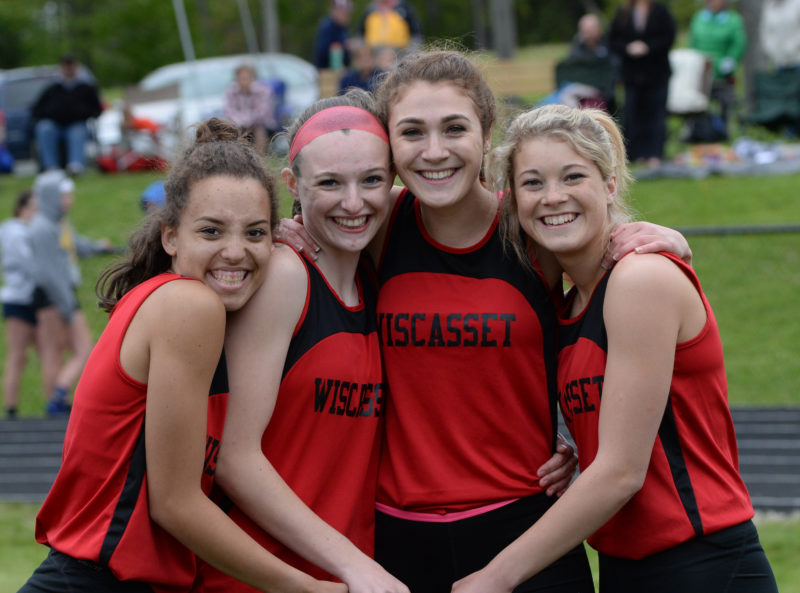 Wiscasset 4x100 relay won the Mt.Valley Conference championship. Team members are Ayanna Stover, Grace Webber, Vanessa Dunn and Gabby Chapman. (Paula Roberts photo)