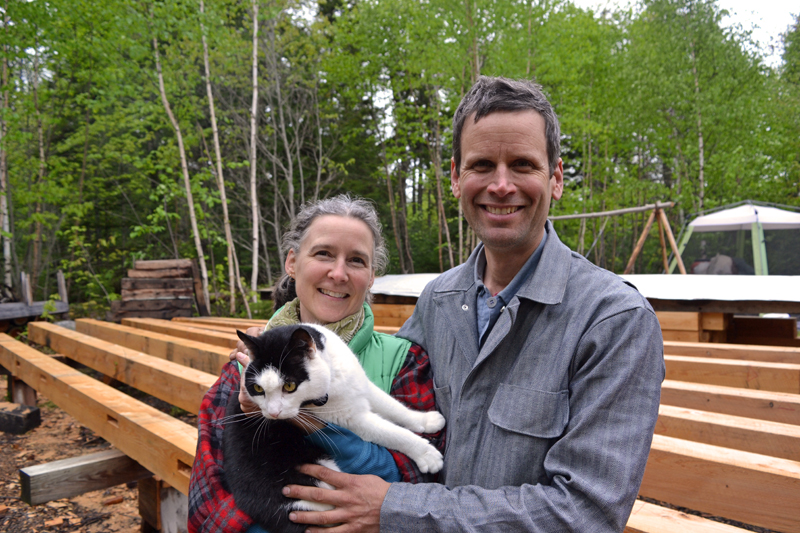 Angela and Kenneth Kortemeier at the site of the new Maine Coast Craft School with their pet and local celebrity, Roameo. (Remy Segovia photo)