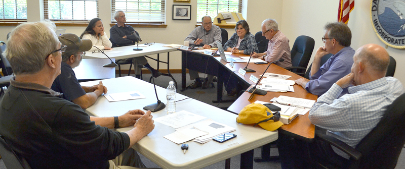 The Damariscotta Board of Selectmen and Damariscotta Planning Board, along with Town Manager Matt Lutkus and Town Planner Tony Dater, meet for a workshop to discuss a review of the town's land use ordinance. (Maia Zewert photo)