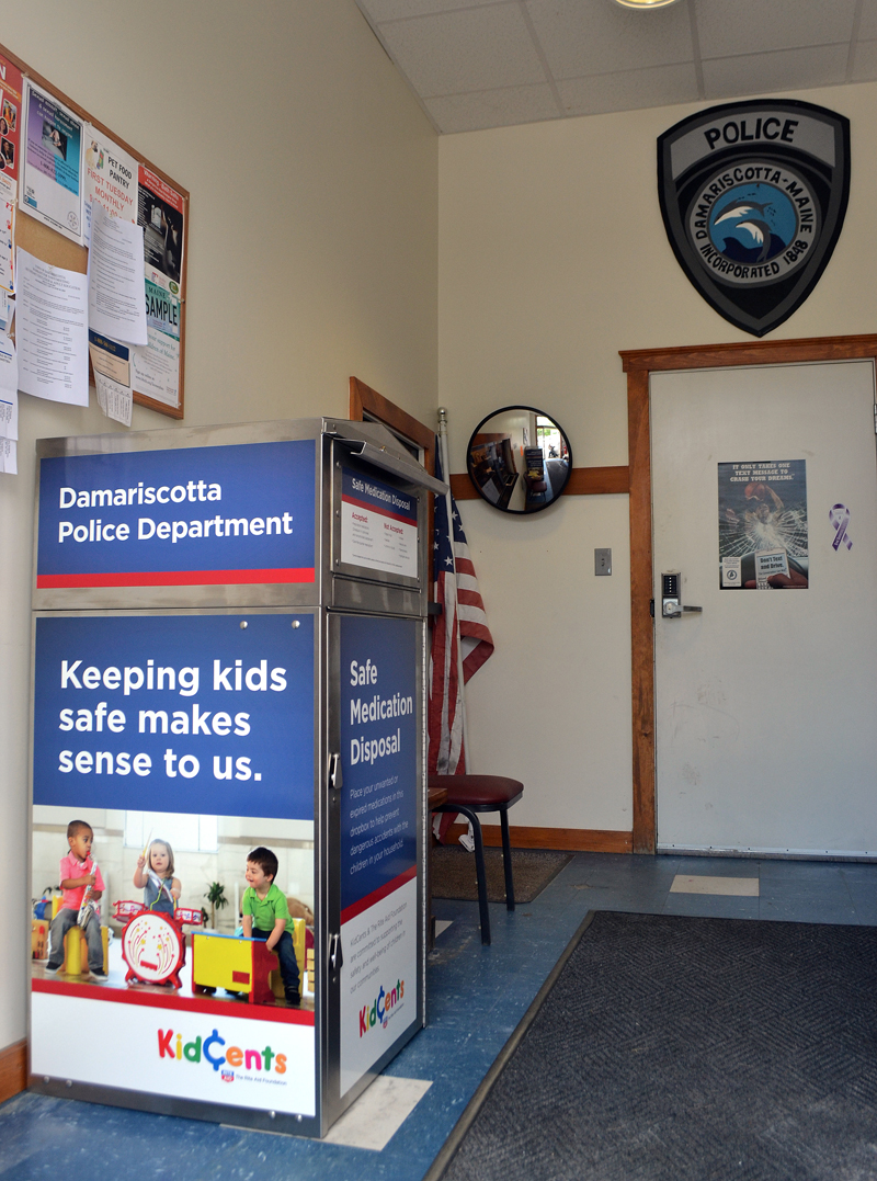 A medication disposal unit was recently installed inside the entrance to the Damariscotta Police Department for the disposal of expired or unwanted medications. (Maia Zewert photo)