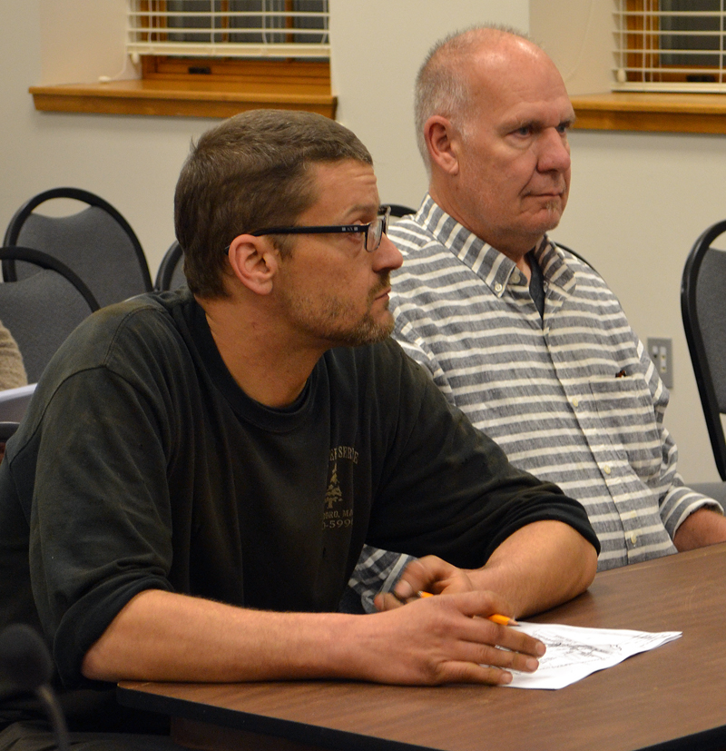 From left: Jon McGraw, of JM Automotive, and Bruce Benner, of Pro Body Works, discuss their plans to open a garage and small used car dealership with the Damariscotta Planning Board on Monday, June 5. (Maia Zewert photo)