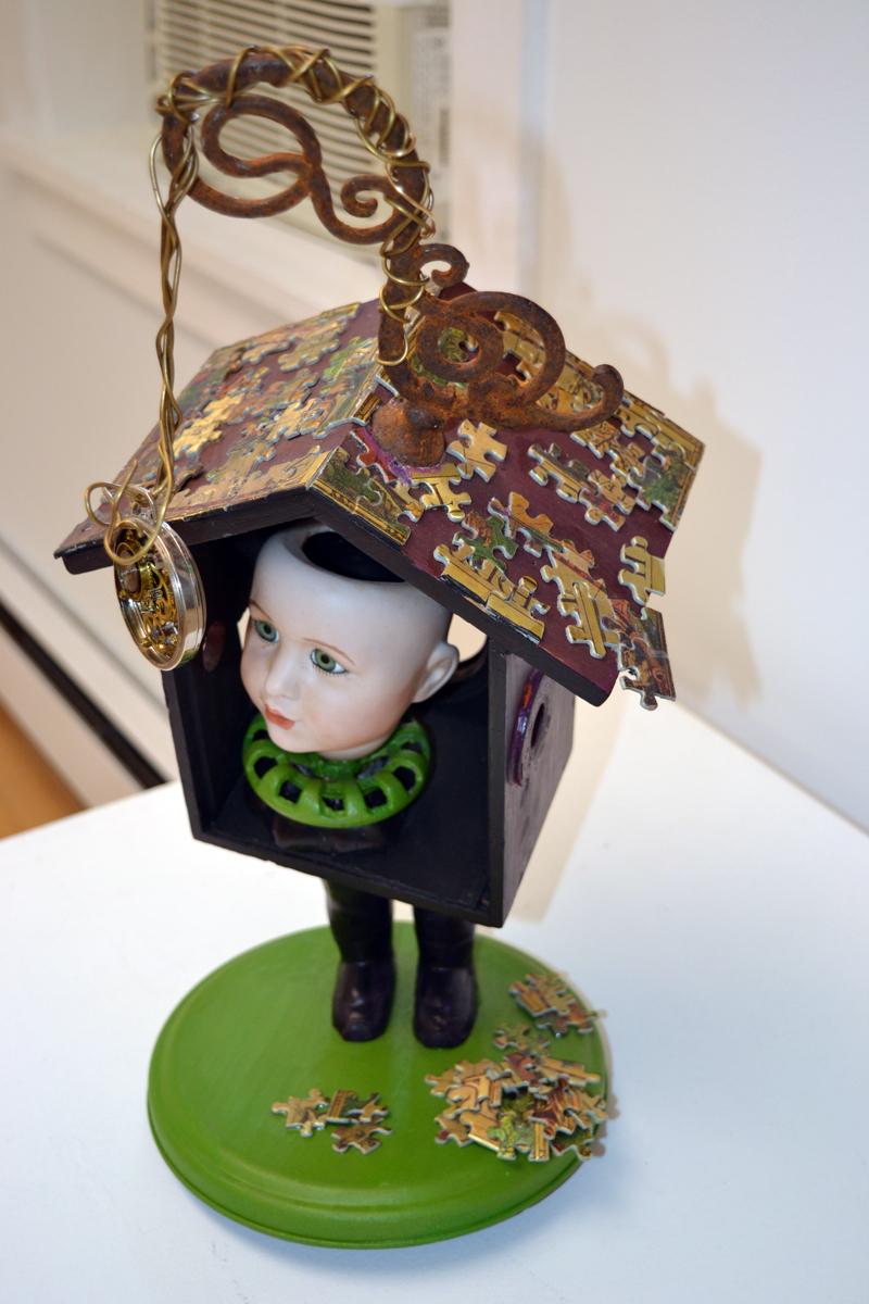 """Time, You Thief,"" a whimsical found-object assemblage piece by Howard Solomon, of Bowdoinham. (Christine LaPado-Breglia photo)"