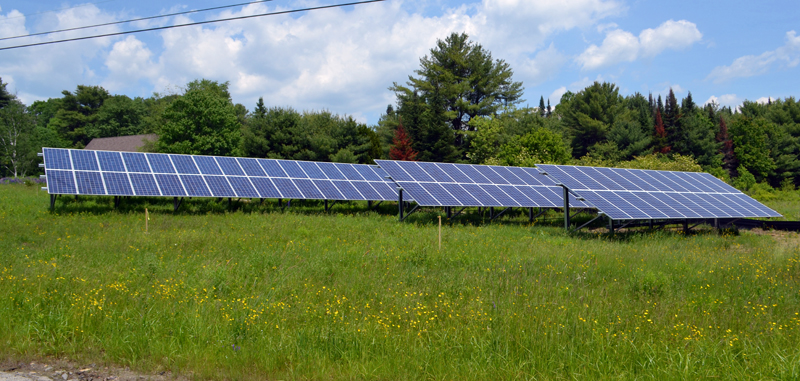 ReVision Energy recently completed the installation of a 176-panel community solar farm at the Midcoast Friends Meeting at 77 Belvedere Road in Damariscotta. The Midcoast Friends Meeting is not a member of the solar farm, but is leasing the land to the members. (Maia Zewert photo)