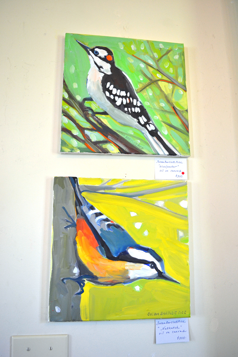 "Susan Bartlett Rice's small paintings ""Woodpecker"" (top) and ""Nuthatch"" are part of her series of winter birds at her backyard feeder. (Christine LaPado-Breglia photo)"