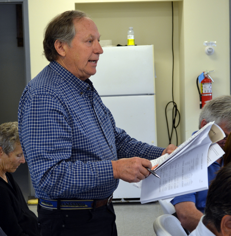 Dresden Budget Review Committee Chair Peter Walsh speaks at annual town meeting Saturday, June 17. (Abigail Adams photo)