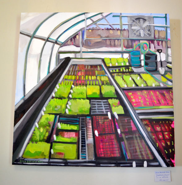 """Greenhouse Greens,"" a large oil painting on canvas by Walpole painter Susan Bartlett Rice. (Christine LaPado-Breglia photo)"