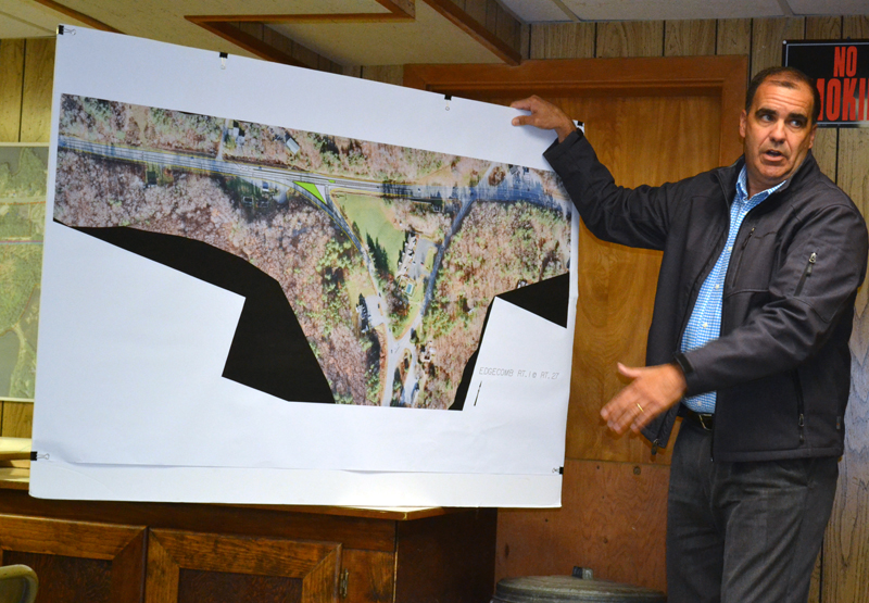 """Maine Department of Transportation Project Manager Ernie Martin explains the department's plan to build a """"Florida T"""" intersection at Route 1 and Route 27 in Edgecomb during a meeting of the Edgecomb Board of Selectmen on Monday, June 5. (Abigail Adams photo)"""