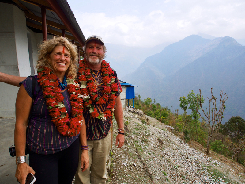 Mexicali Blues founders Kim and Pete Erskine during a recent visit to the Nepalese village of Rok, Solukhumbu, the future location of a school the business is raising funds to build. (Photo courtesy Pete and Kim Erskine)