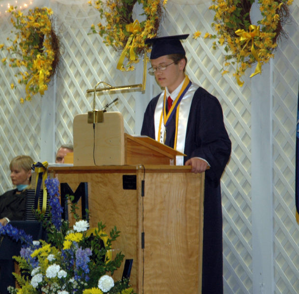Joseph Powell delivers his valedictory address to the Medomak Valley High School Class of 2017. (Alexander Violo photo)