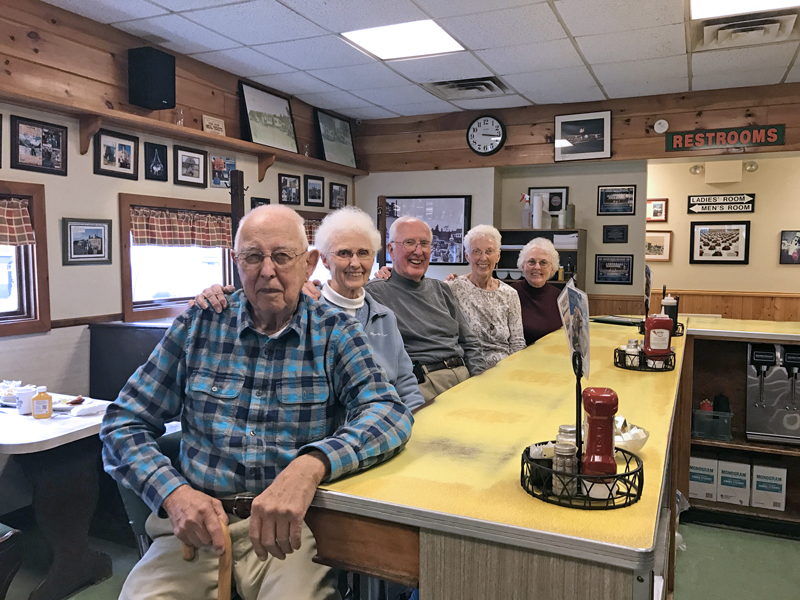 Moody's Diner celebrated its 90th anniversary June 19-22. From left: Moody family members Alvah Moody, Nancy Genthner, Harvey Moody, Judy Beck, and Debbie Bellows. (Photo courtesy Jasmine McNelly)