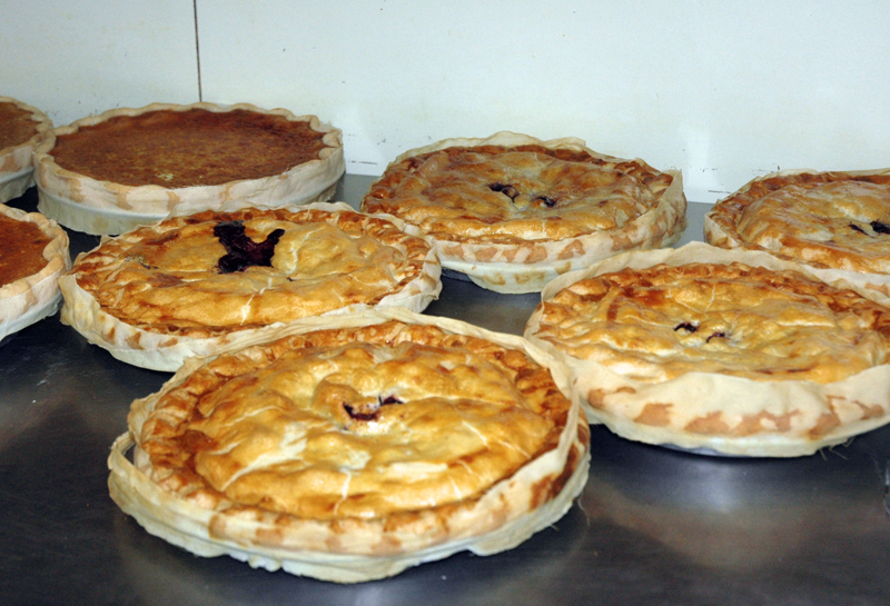 Freshly baked pies at Moody's Diner in Waldoboro. As part of the diner's 90th anniversary celebration, desserts and beverages were on sale for 90 cents apiece. (Alexander Violo photo)
