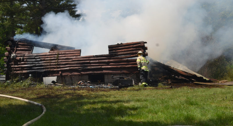 Two Wiscasset residents were displaced by a fire that destroyed their Bradford Road home the afternoon of Wednesday, June 28. (Abigail Adams photo)