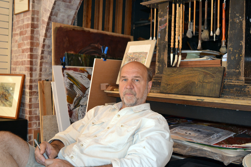 Artist R. Keith Rendall relaxes in his Wiscasset gallery and workshop, Rendall Fine Art. (Christine LaPado-Breglia photo)