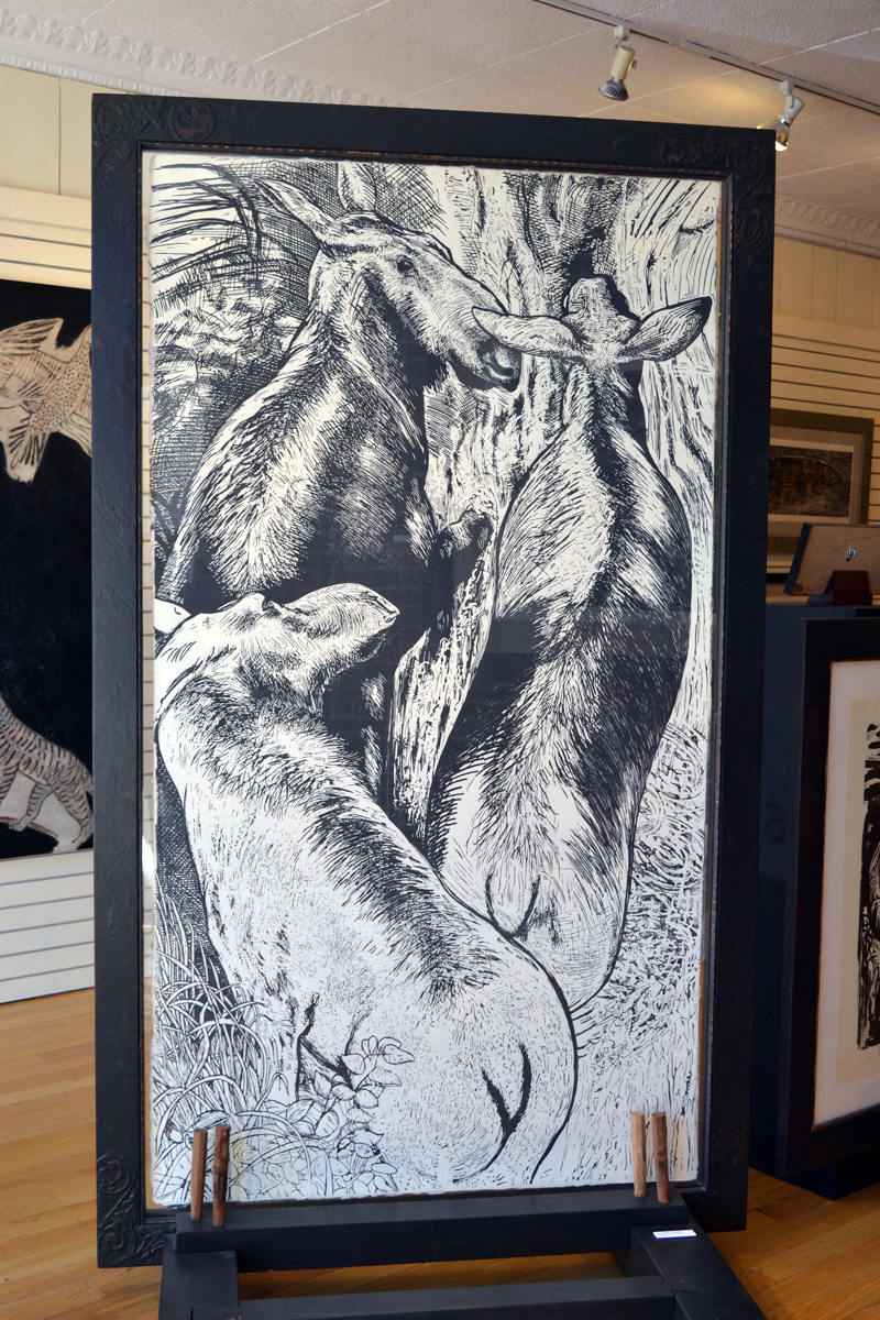 """A Cupsuptic Crossing,"" one of R. Keith Rendall's large woodcuts. (Christine LaPado-Breglia photo)"