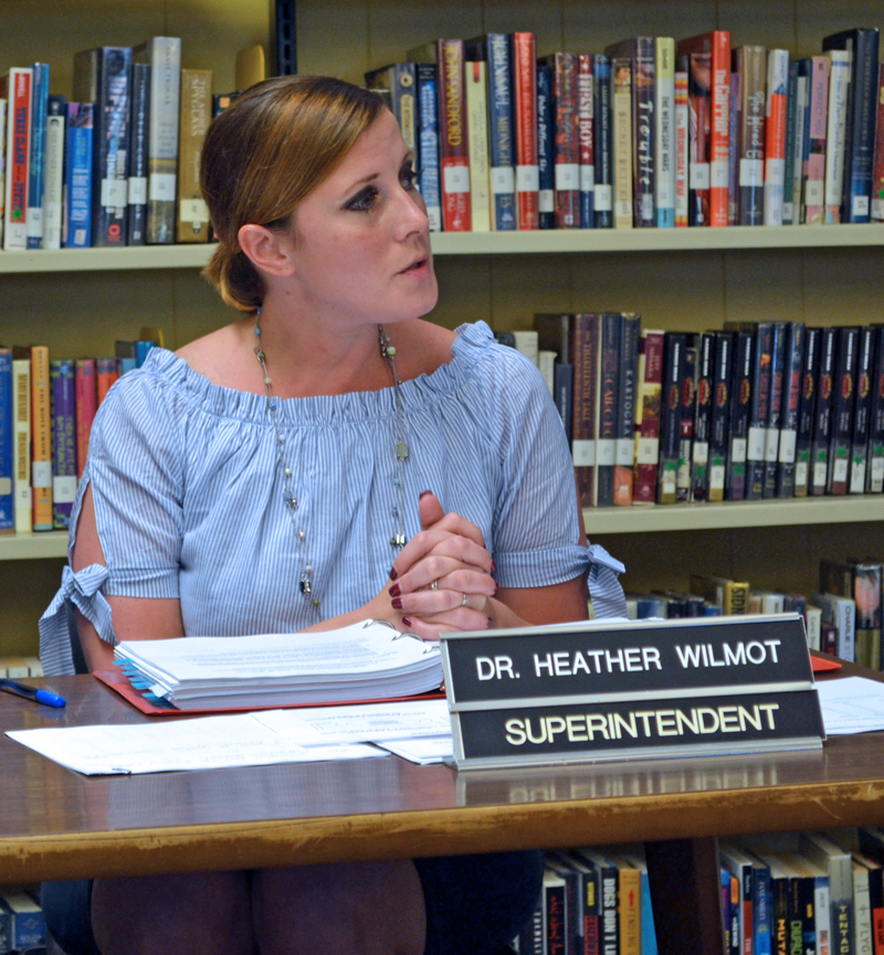 Wiscasset School Department Superintendent Heather Wilmot updates the Wiscasset School Committee about the development of a regional special education program Thursday, June 22. (Abigail Adams photo)
