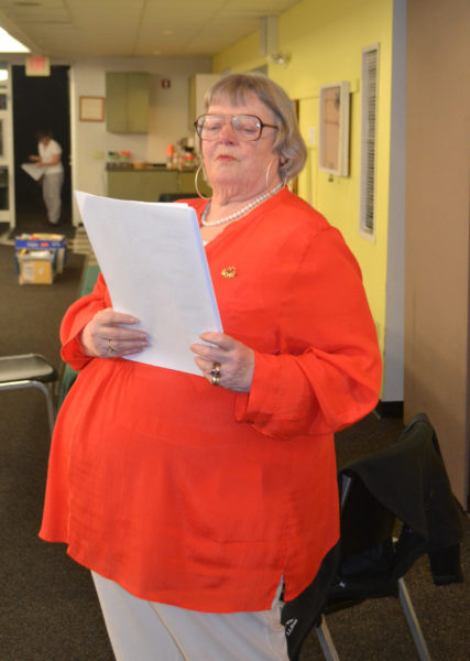 Election Clerk Susan Blagden reads the results of Wiscasset's annual town meeting by referendum Tuesday, June 13. (Abigail Adams photo)