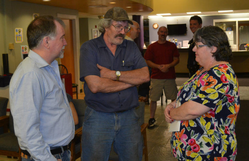 From left: Wiscasset Selectman Ben Rines, candidate for selectman Bob Blagden, and Town Manager Marian Anderson await the results of Wiscasset's annual town meeting by referendum Tuesday, June 13. (Abigail Adams photo)