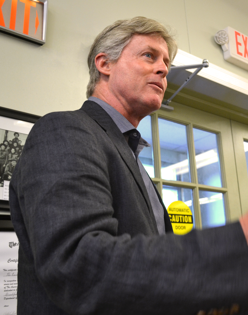 Peregrine Turbine Technologies President David Stapp speaks in support of the town planner position at the Wiscasset Board of Selectmen's Tuesday, June 20 meeting. (Abigail Adams photo)