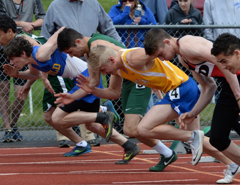 Boothbay's Draco Peaslee placed third in the 100 and fourth in the 200 at the State Class C championships. (Paula Roberts photo)