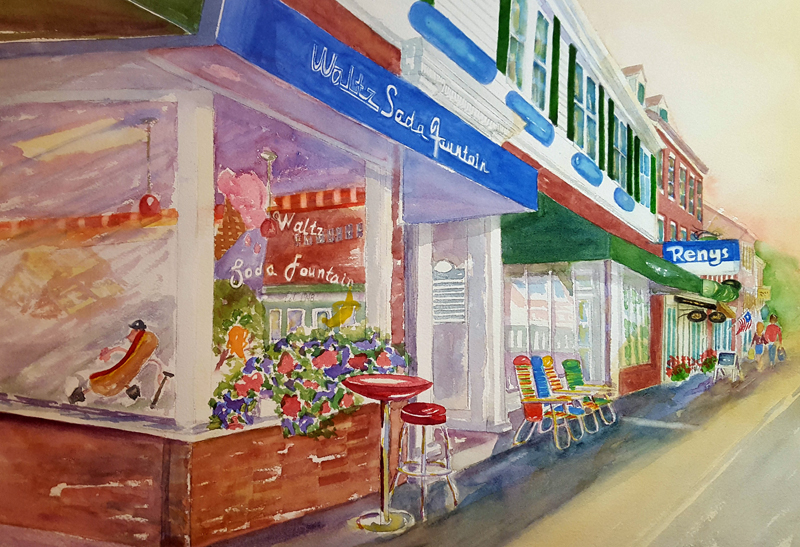 """Waltz's Soda Fountain,"" a watercolor by Kathleen Horst, is one of many prints for sale during the Twin Villages ArtWalk this month."