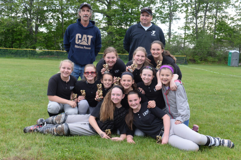 DB&T won the 2017 Lincoln Little League softball championships. Team members are (laying down) Addie Brinkler and Olivia Stiles, (front from left) Addie Brinkler, Gretchen Farrin, Maddy Scott, Lindsey Powell, and Nicole Hammond, (back) coach Brian Farrin, Makayla Simmons, Serena Foster, Sammy Rice, and coach Jamie Brinkler. (Missing from the photo is Kaydence Walker) (Paula Roberts photo)