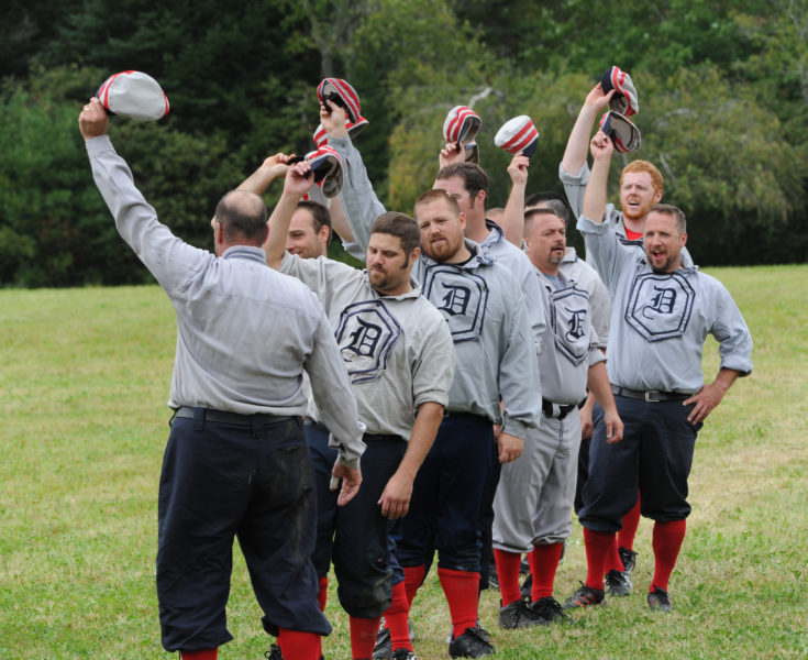 Dirigo old time baseball players give a hats off to their opponents at Dow Field in Waldoboro in 2015. (LCN file photo)