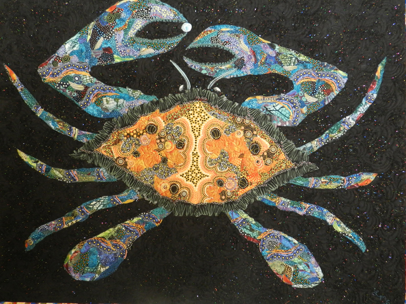 """""""Carrying the Pearl,"""" a fabric collage by Linda Shepard."""