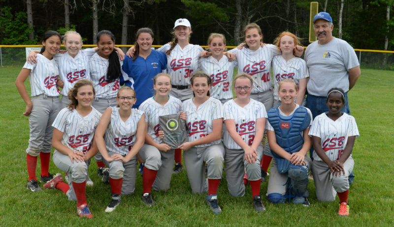2017 Busline League softball champions, the Great Salt Bay School Cougars. Team members are (front from left) Grace Houghton, Michelle Mainm BrookeTelfer, Kaylee Poland, Kady Goode, Shea Clifford, Sopna Atkinson-Tatro, (back) Sonny Cumming, Chloe Achorn, Angel Rodriguez, coach Kassie Lincoln, Lizzie Ober, Bella Hanna, Victoria Libby, Brittni Hartley, and coach Bill Morgner. (Paula Roberts photo)
