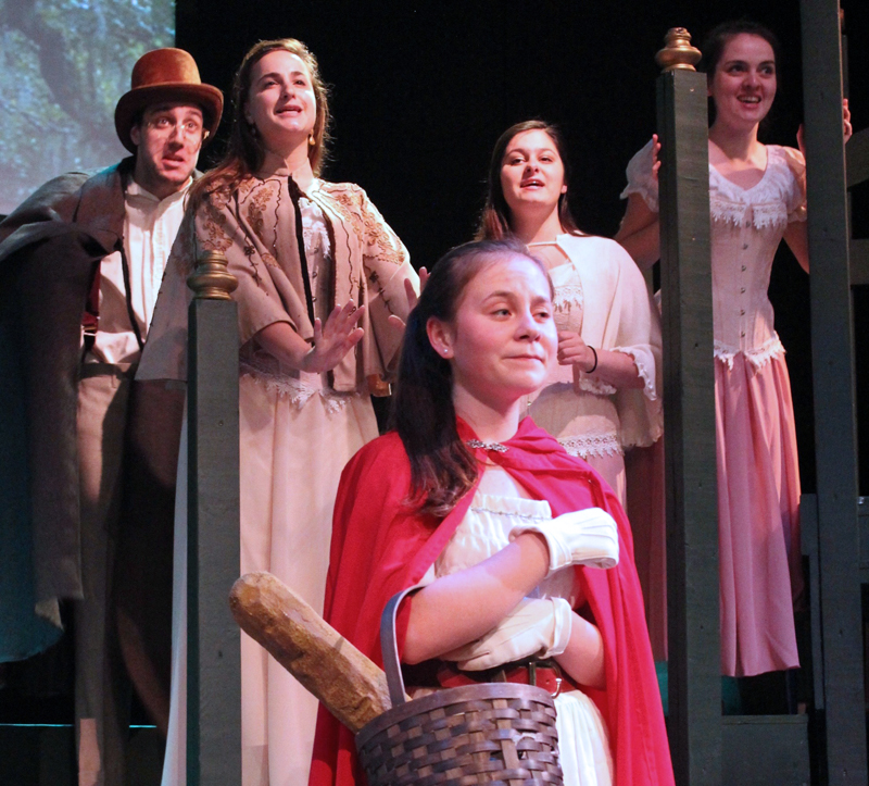 "Cast members in rehearsal for ""Into the Woods"" at Heartwood Regional Theater Company. Back row from left: Andy Martinez, Verity Pryor-Harden, Genevieve Taylor, and Ariel Seidman-Wright; and (front) Kayleigh Tolley."