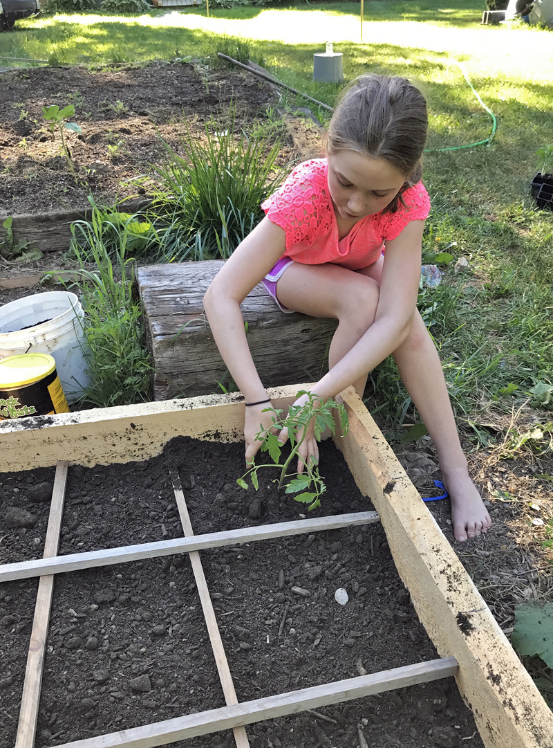 Hanna Perce, age 9, plants a vegetable garden at her home with assistance from LincolnHealth occupational therapist and master gardener volunteer Alan Littlefield.