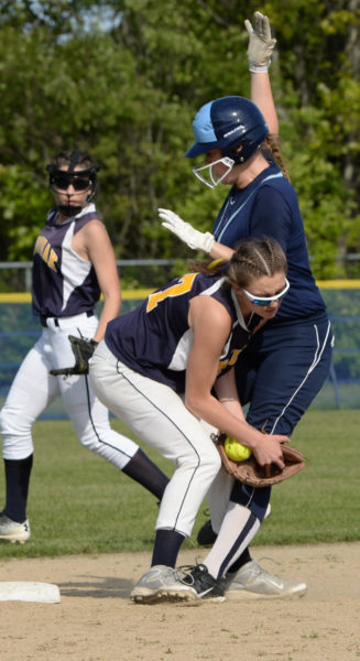Medomak shortstop Sadie Cohen tags out Alexis Mazurek trying to steal second. (Paula Roberts photo)