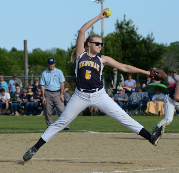 Medomak Valley junior Gabby DePatsy winds up for the pitch playoff action at Oceansdie. DePatsy was named KVAC Softball Player of the Year. (Paula Roberts photo)