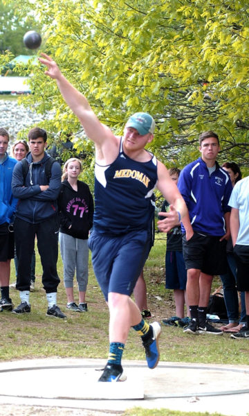 Richie Sproul placed seventh in the shot put and fourth in the discus for Medomak at the State Class B championships. (Carrie Reynolds photo)