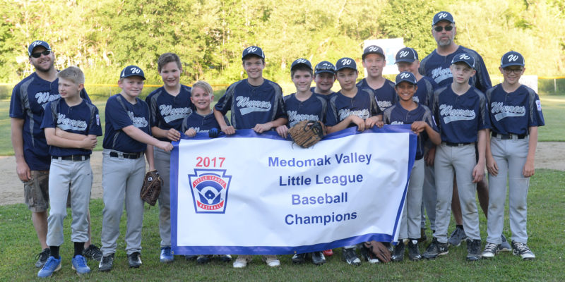 2017 Medomak Valley Little League baseball champions, Warren. Team members are Jaden Starr, Geordan Moody, Tucker Holgerson, Kristian Schumman, Matthew Holbrook, Hayden Staples, Ivan Murphy, Evan Burgess, Ryan Jarvis, Vishal Mellor, Conner Light and Conner Benner.