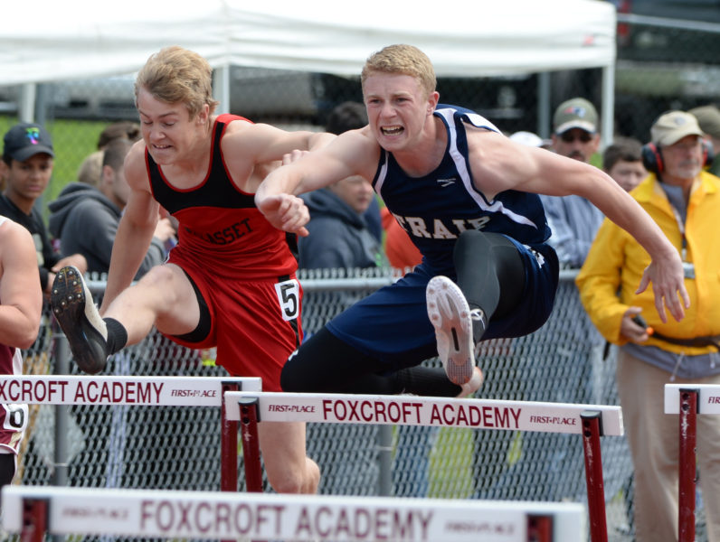 Wiscasset's Matt Chapman (left) placed seventh in the State Class C 110 high hurdles. (Paula Roberts photo)